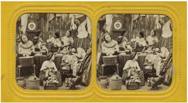 Les blanchisseuses (ca 1870). Source : Antiq-photo.com