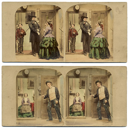 """Attributed to A. Silvester. """"Going out"""" and """"Coming In"""". 1870s. Source : Stereographica.com"""