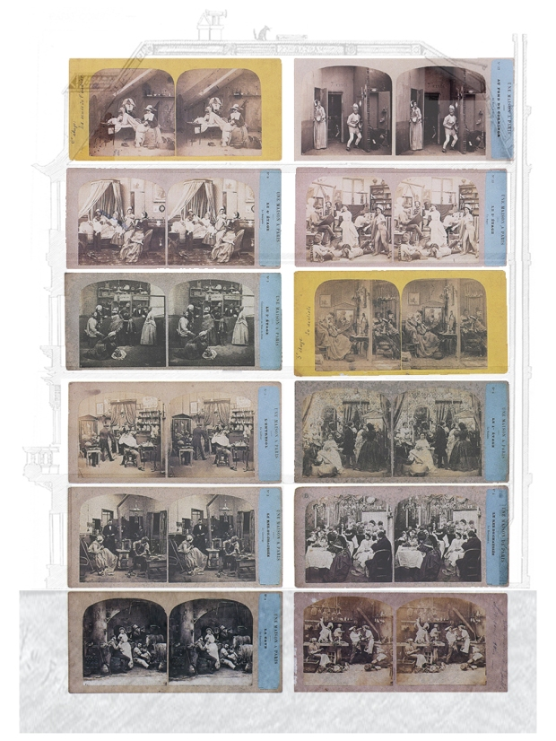 Charles-Paul Furne & Henri Tournier. Une maison à Paris, ca 1860 (montage)                                     Source: Denis Pellerin, Paris in 3D, 2000, pp. 70-1.
