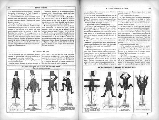 """Nadar, """"Vie publique et privée de mossieu Réac."""" La Revue Comique #22, April 7, 1849."""