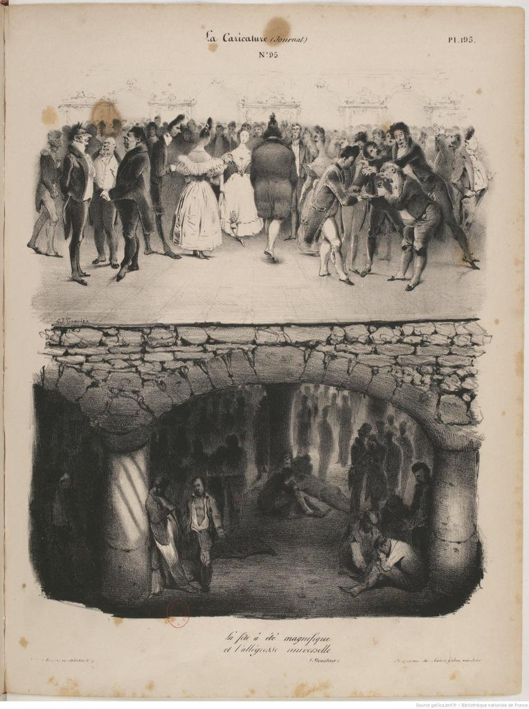 Traviès. 'La fête a été magnifique et l'allégresse universelle' - La Caricature, 1832. Source: Galllica.