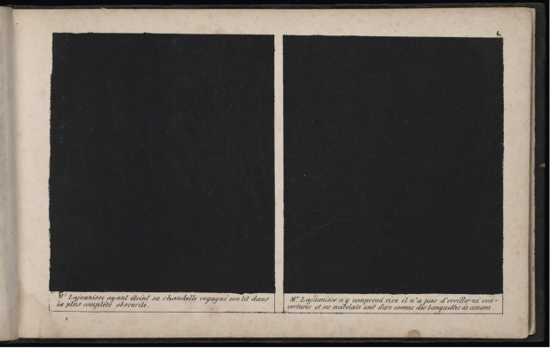 Two inked-over panels (an entire strip) in Cham's Histoire de Mr. Lajaunisse (Paris: Aubert, 1839), 8.